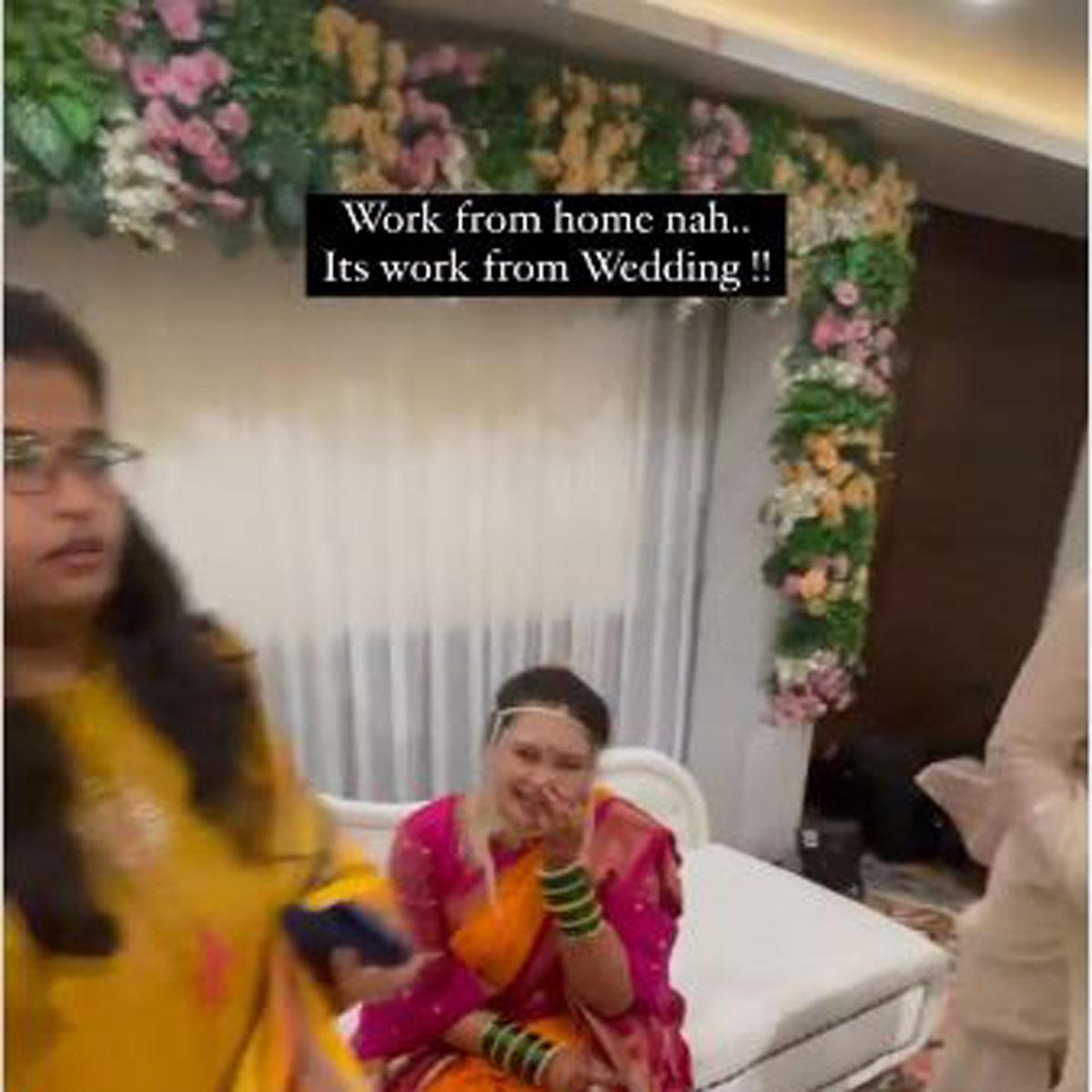 groom working in wedding pavilion