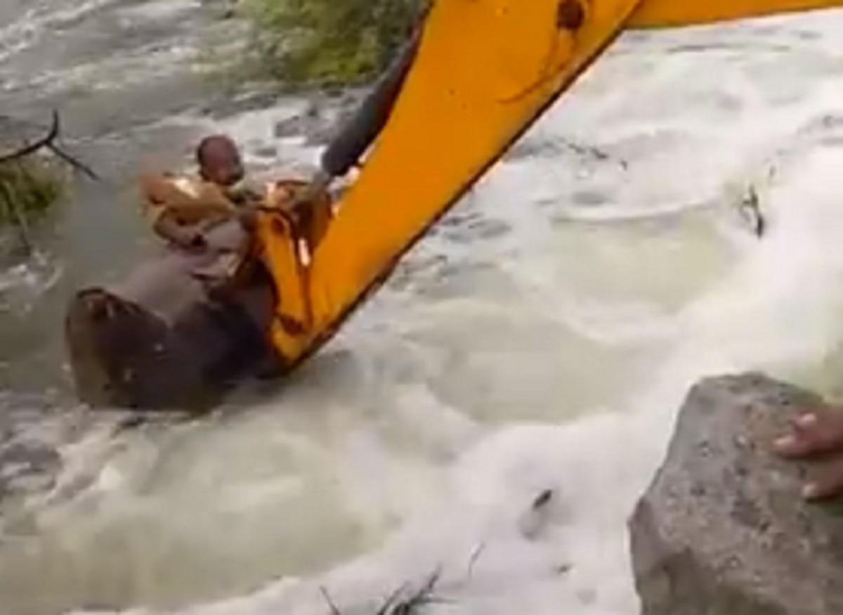 कुत्ते को बचाने के लिए JCB से नदी में कूद गया जवान