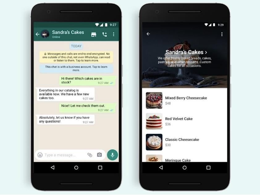 WhatsApp business shopping button feature