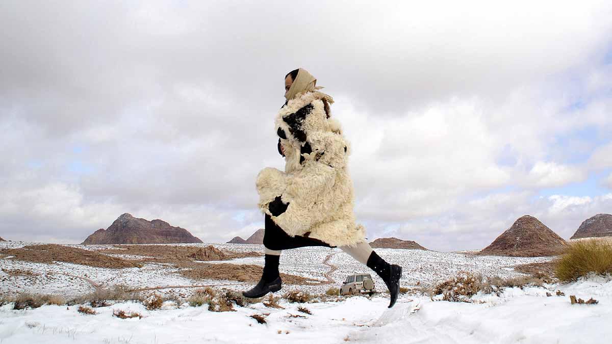 Snowfall in Sahara Desert Saudi Arabia
