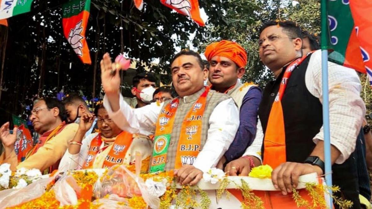 BJP leader Suvendu Adhikari at a roadshow in West Bengal (Photo: PTI)
