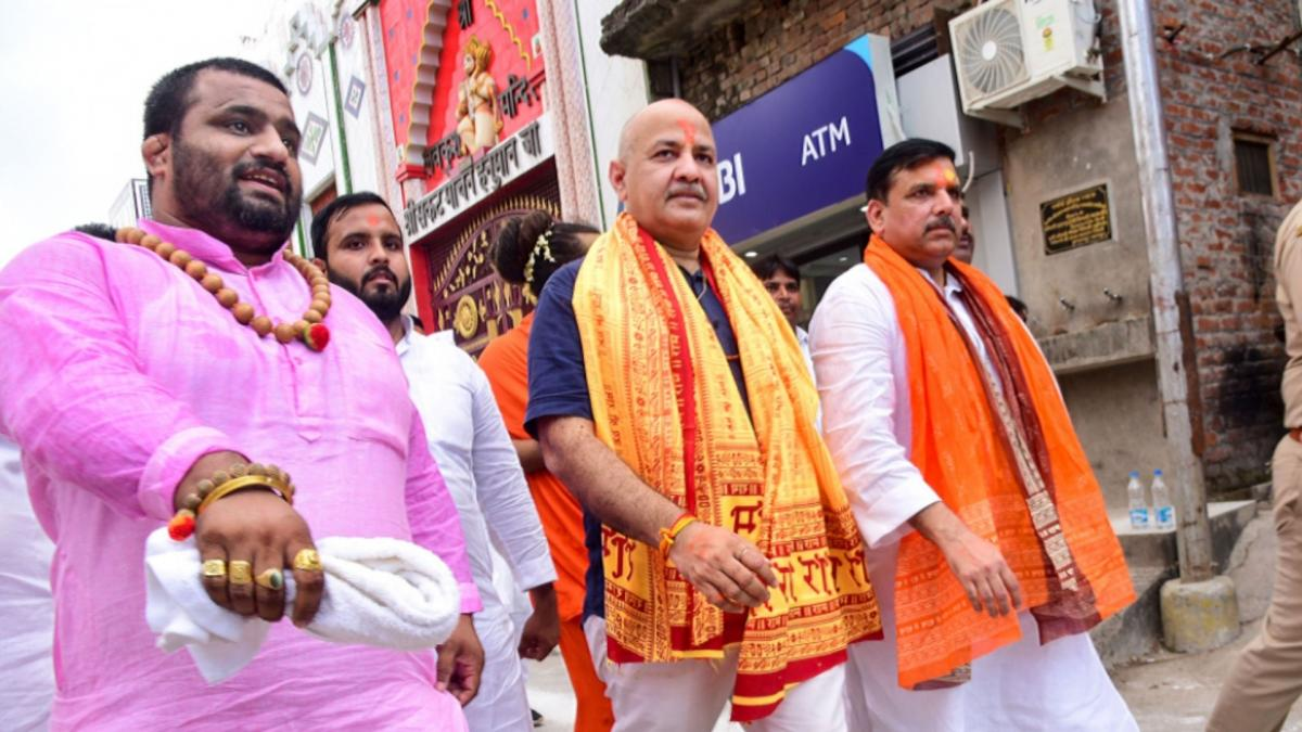 Manish Sisodia in Ayodhya, UP elections 2022 (File-PTI)