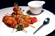 Chicken Piri Piri is served on a stick and the chicken cubes are tossed in a Portuguese spice blend and chilli.