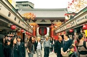 The long avenue leading to the main shrine of Senso-ji Buddhist temple. Photo: Mail Today