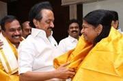 DMK leaders Kanimozhi, A Raja arrive in Chennai, get rousing welcome