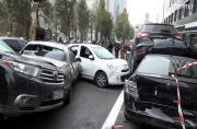 Dramatic car crash involving 19 vehicles takes place in Kiev