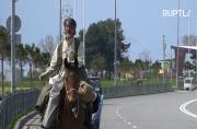 Equestrian nomad travels to World Cup cities on horseback