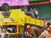Watch: Auto topples during Ganpati immersion in Hyderabad