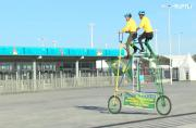 #Lifegoals: Father and son travel the world on giant tandem bike, swing by the World Cup