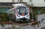 The unmanned Metro train crashed into the wall of the Kalindi Kunj Metro depot.