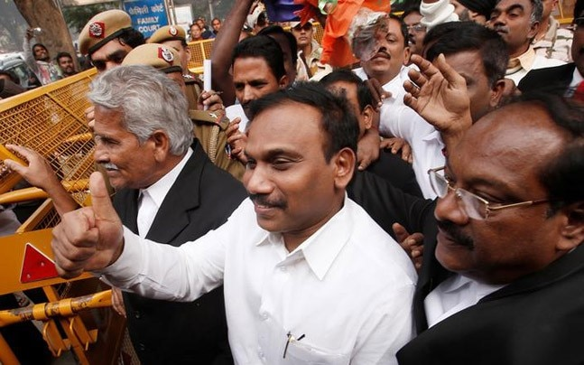 Former Telecom minister Andimuthu Raja, one of the accused in the 2G spectrum case, gestures as he leaves the court (Photo: Reuters)