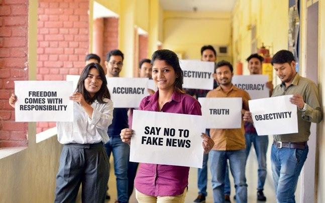 Students in IIMC-Delhi corridors. Photo: Shekhar Ghosh