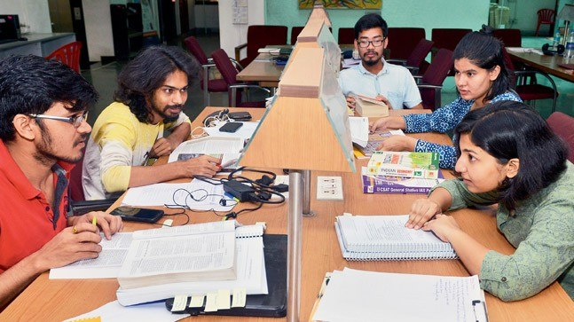 Students in the TISS library. Photo: Millind Shelte