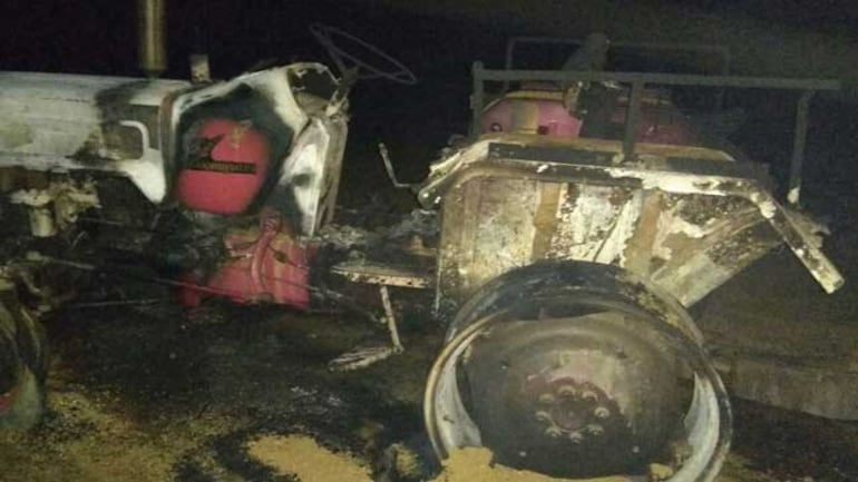 More than 50 Maoists attacked a construction site at Sahajpur-Sahiyaar village, and torched five tractors, one JCB machine and two motorcycles.