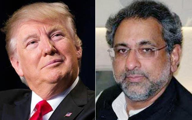 US President Donald Trump and Pakistan PM Shahid Khaqan Abbasi (Reuters photos)