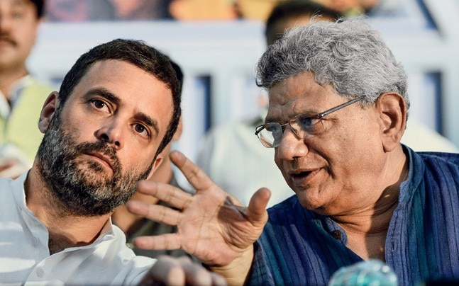 FRIENDS WITH BENEFITS Congress president Rahul Gandhi with Sitaram Yechury. Photo: Vikram Sharma