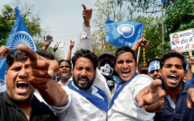A Dalit protest in New Delhi on April 2 against the alleged dilution of the SC/ST Atrocities Act