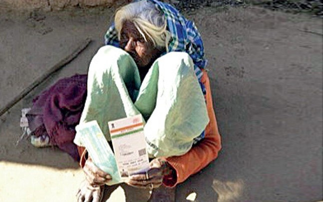 Mangri Pahnain, 80, lives with her 60-year-old disabled son. Both are largely confined to their home. Her pension stopped in October 2016; they were not aware it had to be linked to Aadhaar