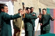 Indian and Chinese military personnel at a border meeting in Ladakh on January 26. Source: IANS