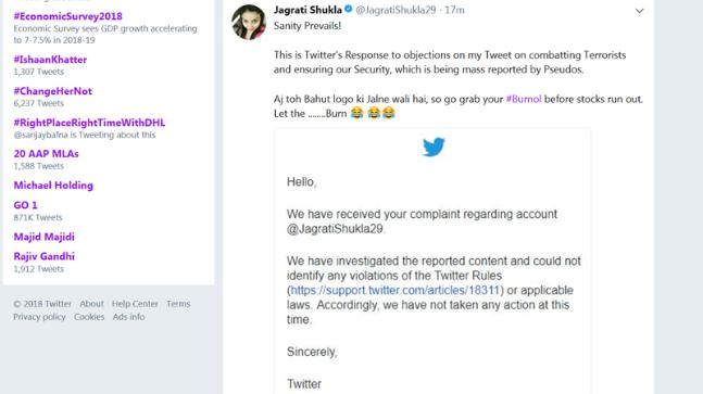 Tweet calling for killing of Muslims in India doesn't violate rules