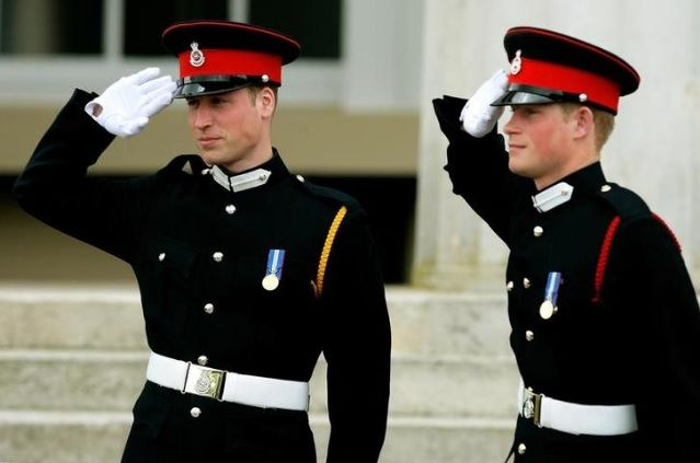 Prince William and Prince Harry on the latter's graduation from the the Royal Military Academy in Sandhurst
