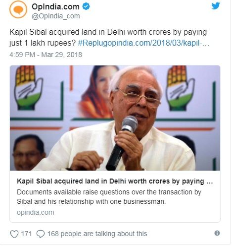 Kapil Sibal acquired land from 'money launderer': BJP