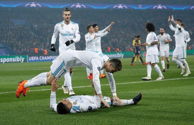 Champions League Cristiano Ronaldo and Casemiro celebrate the latter's goal against Paris Saint Germain F.C