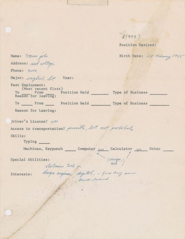 steve jobs one page job application sold for more than 174 000 usd