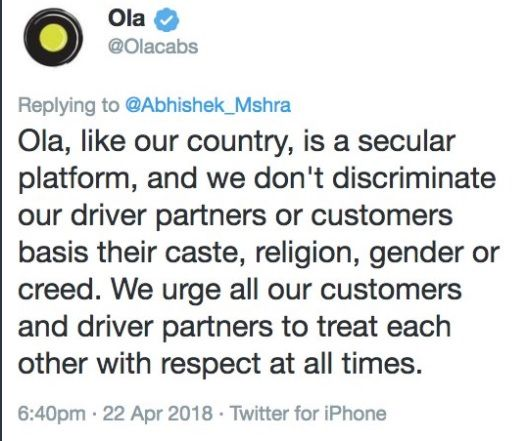 'VHP' man cancelled his Ola ride because 'driver was Muslim'