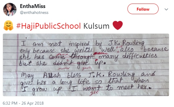 J&K village girl wins over JK Rowling through heart-warming essay