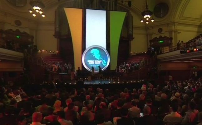 Hall Westminster where Modi is expected to begin speaking any minute