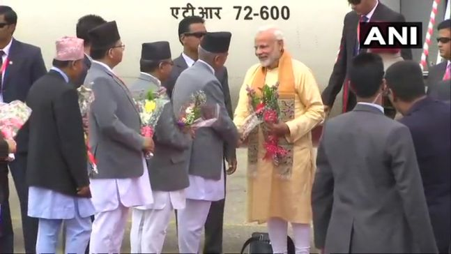 Prime Minister Narendra Modi on a two-day visit to Nepal arrives in Kathmandu