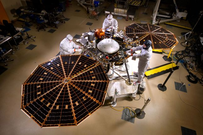 InSight with its solar panels open