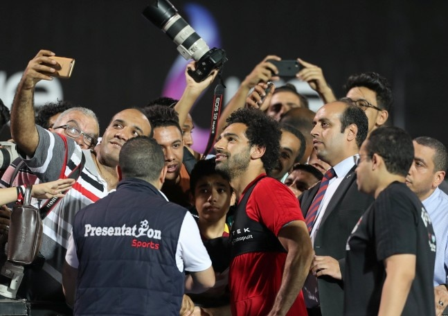 258e5b05c Mohamed Salah clicked selfies with fans at the last training session of  Egypt before departing for the 2018 FIFA World Cup. (Photo: Reuters)