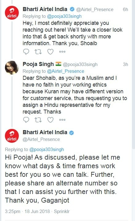 Woman tells Airtel she doesn't want to talk to Muslim