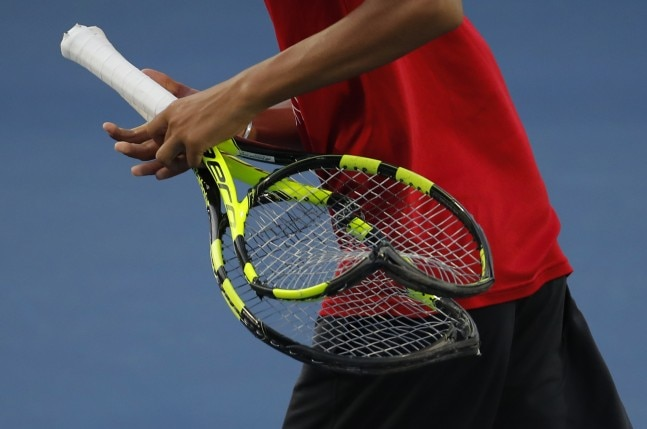 Benoit Paire's broken rackets were later collected by fans as souvenirs