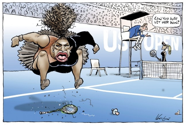 Australian Cartoonist Savaged for 'Racist' Cartoon of Serena Williams Meltdown
