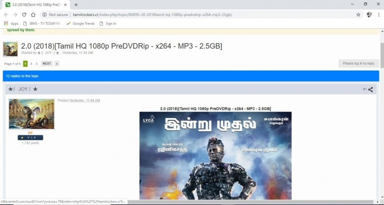 TamilRockers: 2 0 full HD movie leaked by TamilRockers still