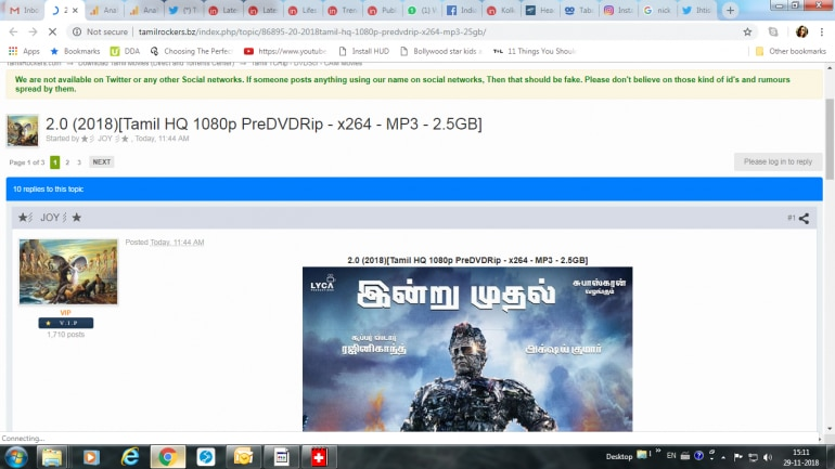 Tamilrockers: 2 0 full HD movie leaked by TamilRockers hours