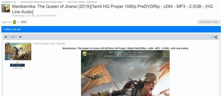 Kangana Ranaut's Manikarnika full movie leaked by