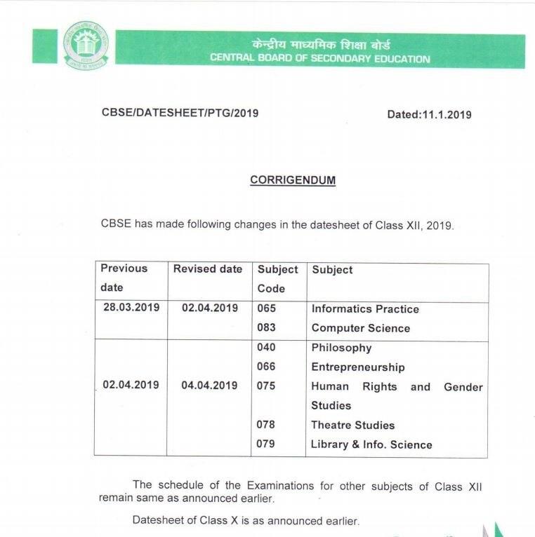 cbse class 12 exam date 2019