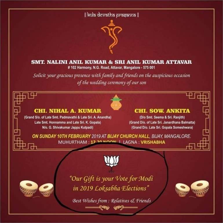 Wedding Card Asking Guests To Vote For Pm Narendra Modi In