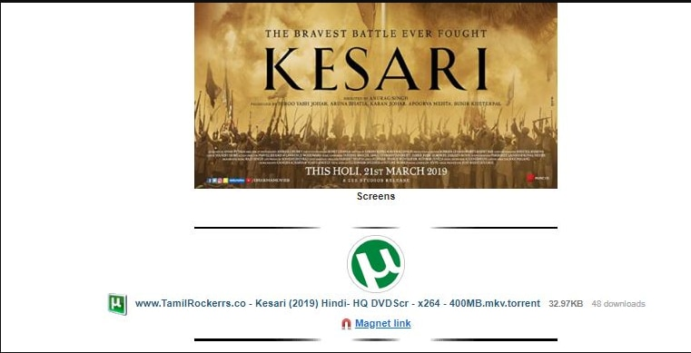 Kesari full HD movie leaked online by TamilRockers  Will