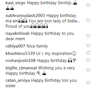 Birthday Wishes On Smriti Iranis Instagram Post