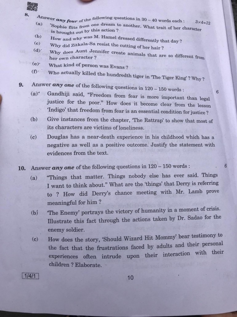 CBSE Class 12 English paper 'easy but lengthy': Check question paper