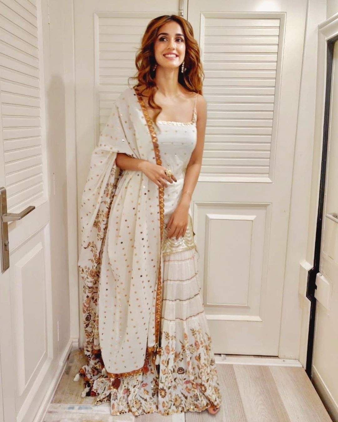 Disha Patani oozes elegance in white and golden sharara set for Radhe's muhurat puja - Lifestyle News
