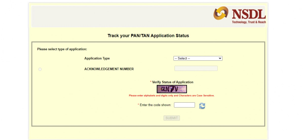 how to track your pan application status online