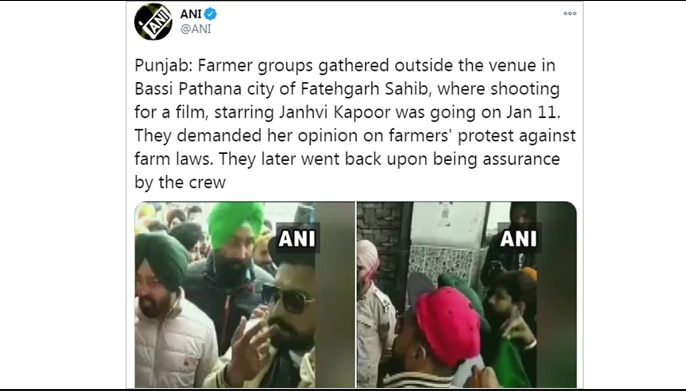 Farmers halt Janhvi Kapoor's film shoot in Punjab, resumes after crew  pledges support - Movies News