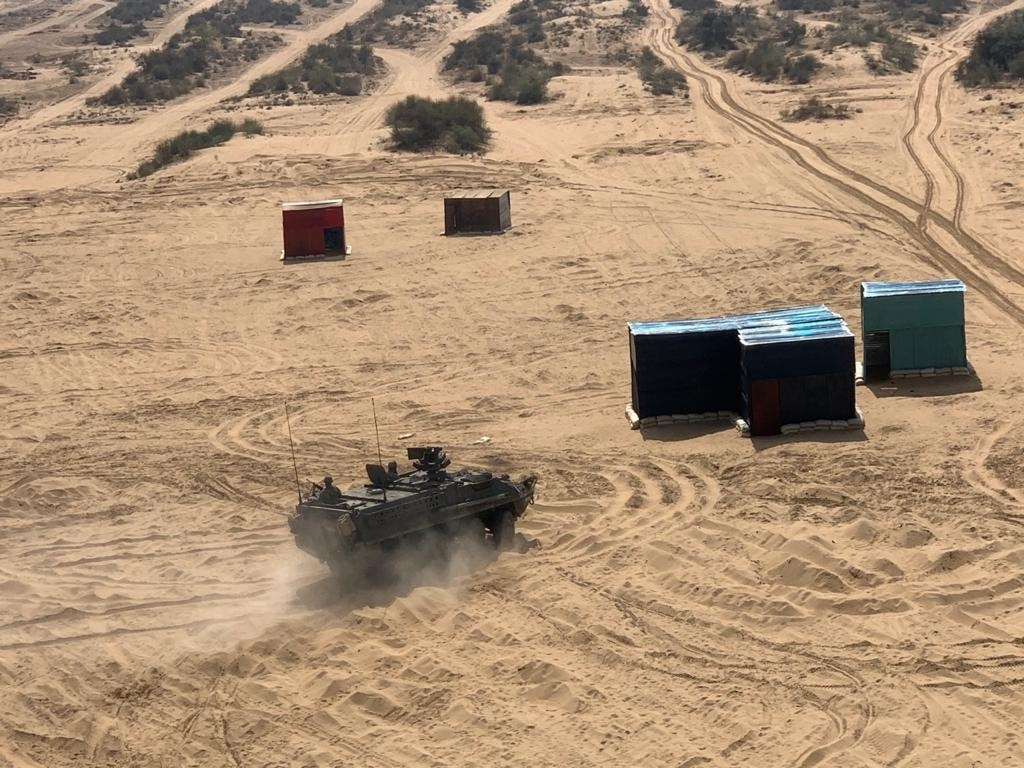 US Army Stryker Armoured Vehicle in action during the war games. (Photo: India Today)