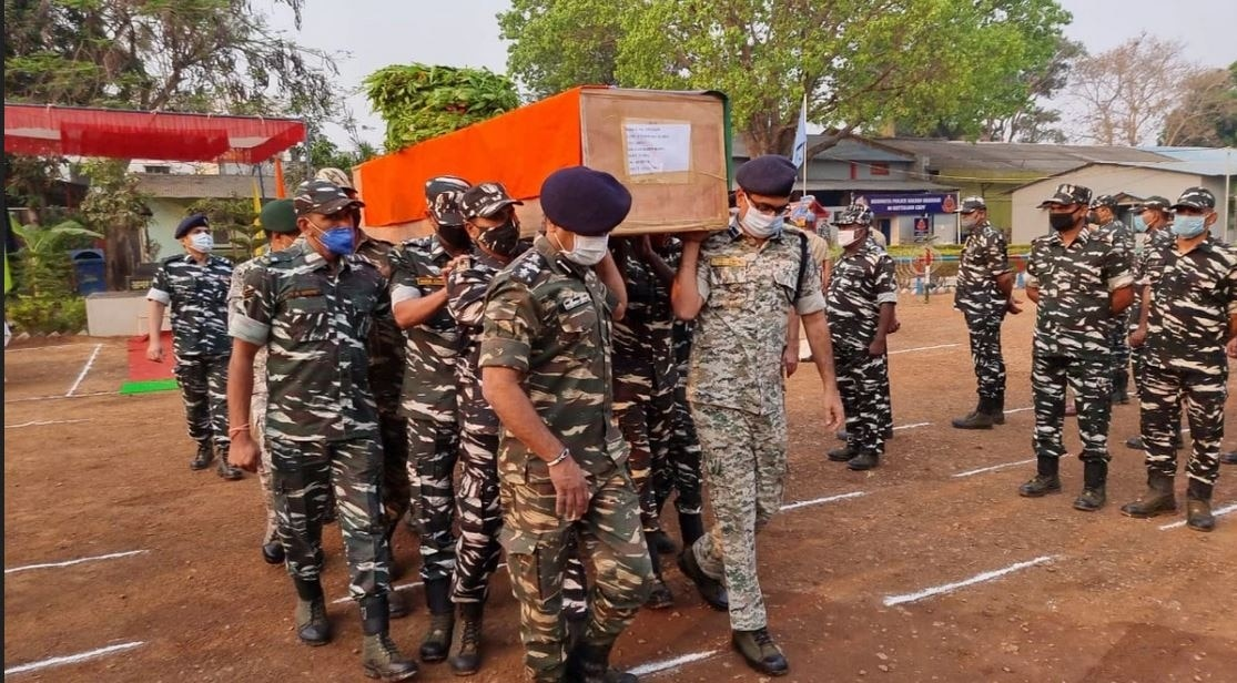 Tribute is paid to fallen jawans at CRPF's Jagdalpur camp on Sunday (Photo Credits: Dharmendar Sharma/India Today)